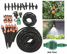 FHD Neue Auto Drip Timer Micro Drip Bewässerung Kit 33FT / 50FT / 65FT / 82FT Bewässerung Rohr Bewässerung Spray Komplette Bewässerung Teile für Blumenbeet, Patio, Garten Bewässerungssysteme Gartenschlauch (33FT)