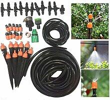 FHD Neue Auto / Manual Micro Drip Bewässerungsanlage 33FT / 50FT / 65FT / 82FT Bewässerungsrohr, Bewässerungsspray, Komplette Bewässerungsteile, für Blumenbeet, Patio, Garten Bewässerungssysteme (65FT)
