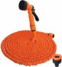 FHD Neuer Gartenschlauch 25ft / 100ft / 75ft / 100ft / 125ft / 150ft Flexible Expandable Expanding Gartenschlauch Expandable Wasserrohr Leichtes zusammenklappbares Schlauch für Bewässerung und Autowäsche (150FT, Orange)