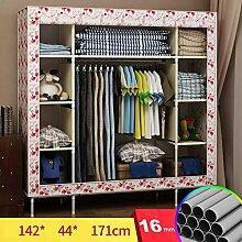 FHK Falten Einfache Garderobe Stahl Rahmen Stoff Kleiderschrank Aufbewahrungsbox Einfache Schlafzimmer Einbauschrank Leinwand Kleiderschrank ( Farbe : E )
