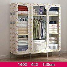 FHK Falten Einfache Garderobe Stahl Rahmen Stoff Kleiderschrank Aufbewahrungsbox Einfache Schlafzimmer Einbauschrank Leinwand Kleiderschrank ( Farbe : D )