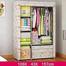 FHK Falten Einfache Garderobe Stahl Rahmen Stoff Kleiderschrank Aufbewahrungsbox Einfache Schlafzimmer Einbauschrank Leinwand Kleiderschrank ( Farbe : C )