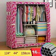 FHK Falten Einfache Garderobe Stahl Rahmen Stoff Kleiderschrank Aufbewahrungsbox Einfache Schlafzimmer Einbauschrank Leinwand Kleiderschrank ( Farbe : A )