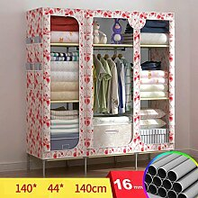 FHK Falten Einfache Garderobe Stahl Rahmen Stoff Kleiderschrank Aufbewahrungsbox Einfache Schlafzimmer Einbauschrank Leinwand Kleiderschrank ( Farbe : B )