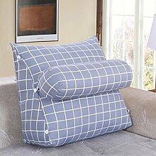 FHK Rückenlehne Baumwoll-Segeltuch-Dreieck-Kissen-Nachttisch-Sofa-Ansatz-Kissen-große Rückenlehnen-Bett-Kissen-Fenster-Kissen Taillenkissen ( Farbe : H , größe : 55*50*30cm )