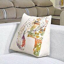 FHK Rückenlehne Baumwolle Dreieck Kissen Lendenwirbelstütze Rückenlehne Bett Kissen Sofa Kissen Kissen Bürostuhl 45 * 40 * 18cm Taillenkissen ( Farbe : B )
