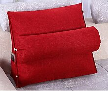 FHK Rückenlehne Bedside Cotton And Linen Triangle Kissen Bay Fenster Kissen Bett Soft Bag Neck Kissen Back Pad kann gewaschen und gewaschen 45 * 45 * 20cm Taillenkissen ( Farbe : A )