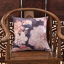 FHK Rückenlehne Kissen Sofa mit Kissen Chinesisch Stil Bedside Big Kissen Auto zurück Taille Kissen 45 * 45cm (Set + Inner Core) Taillenkissen ( Farbe : C )