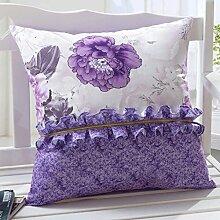 FHK Rückenlehne Pastoral Style Sofa Kissen Chinesisch Wind Kissen Taille Zurück Super Soft Fabric Sets Mit Core Kissen Large 55 * 55cm (Jacke + Inner Core) Taillenkissen ( Farbe : B )