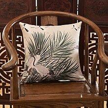FHK Rückenlehne Verlassen auf klassischen hölzernen Sofa Kissen Landschaft Landschaft Kissen Kissen dekorative Rückenlehne 45 * 45cm (Set + Innenkern) Taillenkissen ( Farbe : B )