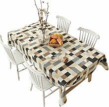 FHK Tischdecke American Pastoral Plaid Printing Tischdecke Western Tisch Tisch Dicker Tischdecke Kaffee Tuch Dekorative Tischdecken ( Farbe : B , größe : 140*200CM )