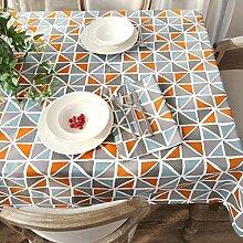 FHK Tischdecke Amerikanische Land Geometrische Druck Leinwand Dicker Tisch Stoffe Einfache Esstisch Stoff Kaffee Tuch Dekorative Tischdecken ( Farbe : Orange , größe : 140*220cm )