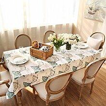 FHK Tischdecke Amerikanische Pastoral frische Baumwoll Leinen Tischdecke kleine Blatt Tisch Tisch Tuch Kaffee Tuch Dekorative Tischdecken ( Farbe : B , größe : 140*180cm )