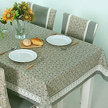 FHK Tischdecke European Pastoral Blue Floral Fabric Tischdecke Gitter Tisch Tisch Rechteckige Couchtisch Tischdecke Dekorative Tischdecken ( Farbe : A , größe : 130x130cm )
