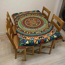 FHK Tischdecke European-style Tischdecken Chinesische Pastoral Blumen Round Table Tischdecken Baumwolle und Leinen Couchtisch Tuch Tisch Tisch Tuch American Village Dekorative Tischdecken ( Farbe : D , größe : 140*230cm )