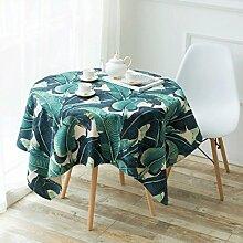 FHK Tischdecke Grüne Pflanze Flachs Tisch Tisch Garten Stil Restaurant kreative Tischdecke Wohnzimmer quadratisch Tisch Couchtisch runde Tischdecke Dekorative Tischdecken ( größe : 110*110 )