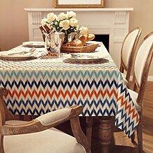 FHK Tischdecke Mode Einfache geometrische Baumwolle Leinen Tisch Tischdecke Couchtisch Tischdecke Abdeckung Dekorative Tischdecken ( Farbe : C , größe : 140*140cm )