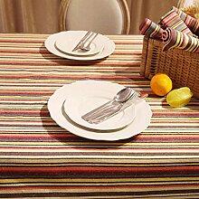 FHK Tischdecke Nationale Windstreifen Imitation Leinen Stoff Tisch Tuch Retro Couchtisch Tuch Tisch Stoff Stoff Art Dekorative Tischdecken ( Farbe : Rot , größe : 140*220cm )