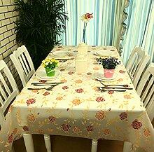 FHK Tischdecke Pflanze Blumen Tischdecke wasserdicht wasch - freie Plastik Speisetisch Tuch PVC Tischdecke Anti - Öl Tisch Matte weichen Glas Kaffee Matten Dekorative Tischdecken ( Farbe : Rose , größe : 138*200cm )