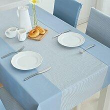 FHK Tischdecke Rechteckige Tischdecken kleine frische gestreifte Tuch Tisch Tuch Tuch Europäische einfache home Wohnzimmer Tischdecke Couchtisch Tuch Dekorative Tischdecken ( Farbe : Blau , größe : 140*240cm )