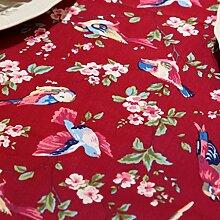FHK Tischdecke Retro amerikanische Blumen und Vögel Tischdecken Couchtisch Tischdecken Western Tisch Stoff Stoff Custom Dekorative Tischdecken ( Farbe : Rot , größe : 90*140cm )