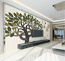 FHOMEY Tapete Wandbild 3D Baum Mit Vögeln Gemalt