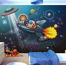 FHOMEY Tapete Wandbild 3D Cartoon Raum Raumschiff