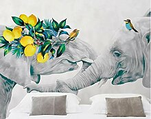 FHOMEY Tapete Wandbild 3D Elefanten Blume