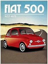 FIAT 500Auto Schild retro Metall blechschild Wandschild Neuheit Geschenk