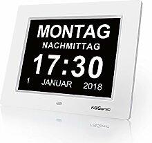 FIBISONIC Wecker Digital Bilderrahmen Groß Tischuhr/Wanduhr 8 Zoll Standuhr mit Zeit/Kalender/Foto/Video Anzeige Helligkeit/Musik/Erinnerung Einstellbar Uhr