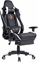 Ficmax Bürosessel / Gaming-Stuhl, mit Lendenstütze und einziehbarer Fußauflage, ergonomisches Design, hohe Rückenlehne, Massagefunktion, Schwarz / Weiß