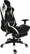 Ficmax Groß Hohe Rückenlehne Ergonomisch Sportsitz Gaming Stuhl Chefsessel mit Massage Lendenwirbelstütze und Verstellbar Fußstütze - weiß / schwarz