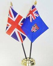 Fidschi Und United Kingdom Freundschaft Tisch Flagge Display 25cm (25,4cm)