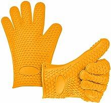 Fieans 1 Paar Erstaunliche Silikone Topflappen Ofenhandschuhe Grilling Gloves Kuehlschrank Handschuhe-Gelb