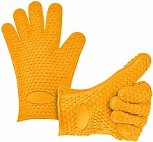 Fieans Hitzebestaendige Kitchen Silikon Grillhandschuhe Topflappen BBQ-Handschuhe Kochhandschuhe-Gelb