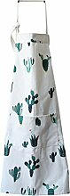Fieans Verstellbare Schürze aus Baumwollleinen Küchenschürze Kochschürze Grillschürze mit Tasche für Frauen Männer - Grün Kaktus