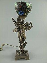 Figürliche Jugendstil Tischlampe, Lampe im Tiffany Stil Resin bronzier