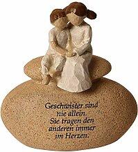 Figur auf Stein, mit Spruch, ca. 12 cm Geschwister