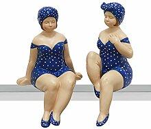 Figur Becky aus Poly in blau/weiss (Bein