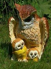 Figur Eule mit zwei Kleinen Höhe 26 cm Dekofigur aus Kunstharz