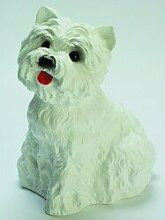 Figur Hund West White Terrier mit Bewegungsmelder H 22cm Tierfigur mit Bewegungsmelder wau-wau