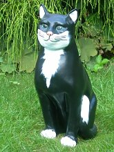 Figur Katze Höhe 45 cm Tierskulptur aus Kunstharz