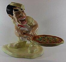 Figur Koch mit Pizza Koch auf Sockel Skulptur