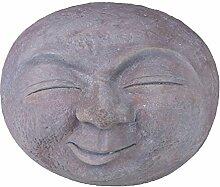 Figur Mond 48x34x40cm Statue Polyresin grau Skulptur Gartenfigur Mondgesich