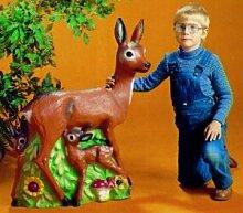 Figur Reh mit Kitzen Höhe 80 cm aus bruchsicherem