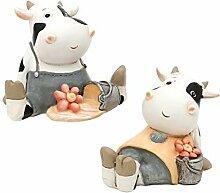 Figuren 2er Set Kuh Mann und Frau Gartendekoration