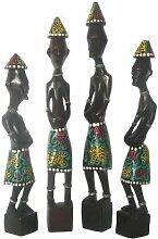 Figuren 4er-Set Afrika Statuen Holz Kunst Dekoration 2