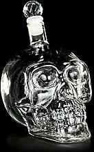 Figuren-Shop.de Totenkopf Glas-Flasche mit