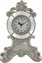 Filigran Antik Silber und Weiß Tisch Kaminuhr