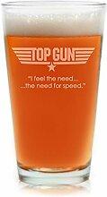 Filme auf Glas–Top Gun Film Gravur Logo mit